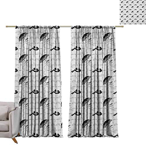 Thermal Curtains Vintage,Women Fashion Themed Elements Retro Style Hats Gloves Umbrella and Shoes, Black Pale Grey White W96 x L84 Blackout Curtains for - Agatha Umbrella