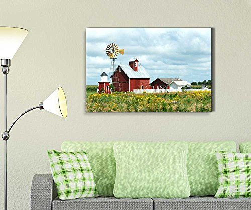Beautiful Scenery of Windmill Barn Sheds and Fence on a Cloudy Day Wall Decor