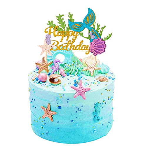 Sakolla Glitter Mermaid Cake Topper Happy Birthday Cake Picks Mermaid Cake Decoration for Mermaid Baby Shower Birthday Party Supplies -