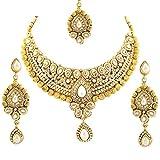 Bollywood Designer Ethinic Indian Premium Stone Polki Kundan Bridal Necklace Set - Pearl