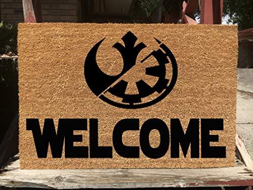 KiwiCraftdom - Rebel Alliance & Galactic Empire Silhouette!! Star Wars Inspired Doormat - Large Welcome Door Mat - Cute Housewarming Gifts - Fun Birthday Present ()