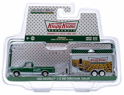 1968 Chevrolet C10 (1968 CHEVROLET C10 & CONCESSION TRAILER (Krispy Kreme Doughnuts) * Hitch & Tow Truck & Trailer Series 4 * Limited Edition 2015 Greenlight Collectibles 1:64 Scale Die-Cast Vehicle)