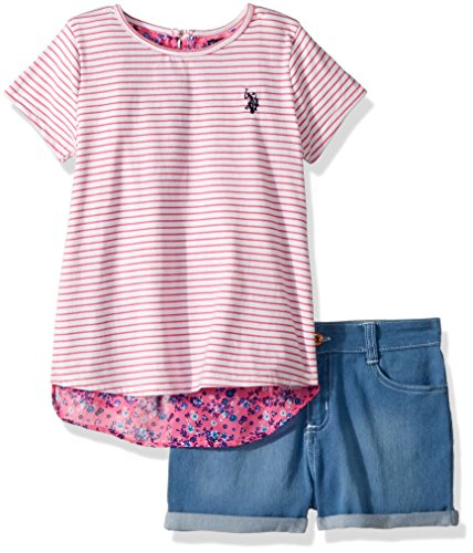 U.S. Polo Assn. Girls' Toddler Fashion Set, Flyaway Chiffon Top Denim Short Pink, 2T ()