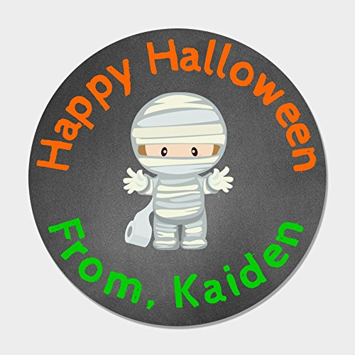 40 Personalized Mummy Halloween Treat Stickers - Kids Halloween Treat Bag Stickers - Customized Halloween -