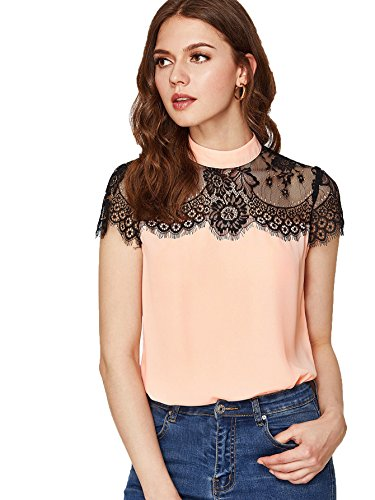 - DIDK Women's Round Neck Lace Yoke Keyhole Back Top Pink XS