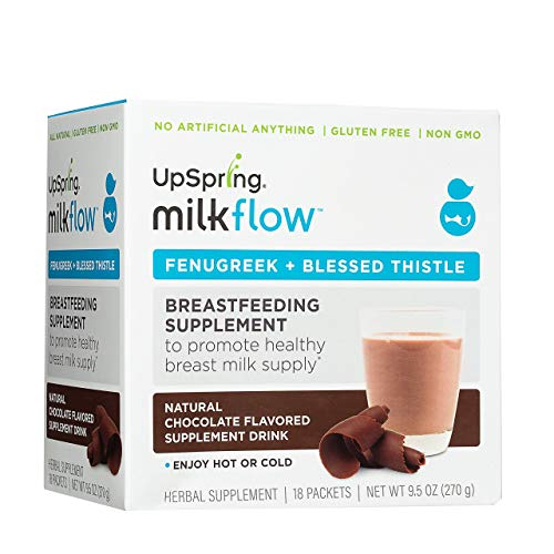 UpSpring Baby Milkflow Fenugreek and Blessed Thistle Powder Chocolate Lactation Supplement Drink Mix, Breastfeeding Supplement for Lactation Support, 18 Count, to Promote Healthy Breastmilk Supply (Best Breast Milk Enhancer)