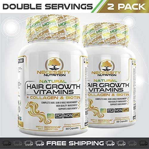 Hair Growth Vitamins 2 Pack 66 Capsules Prevent Hair Loss | Healthy Strong Nails & Skin, Natural Supplement Products Scientifically Formulated W/Collagen Biotin 5000mcg Keratin & Bamboo All Hair Types