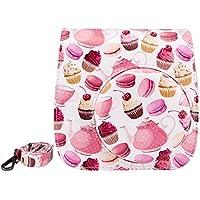 Elvam Flamingo Cake PU Leather Fujifilm Instax Mini 9 / Mini 8 / Mini 8+ Instant Film Camera Case Bag w/ a Removable Bag Strap