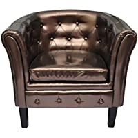 Festnight Home Artificial Leather Armchairs Tub Club Chair, Brown/Silver