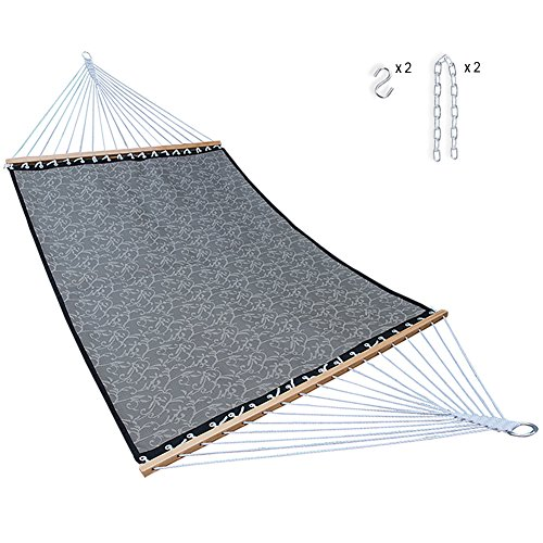 SUNMERIT Hammock Quick Dry with Double Size Spreader Bar for Outdoor Garden Patio, Waterproof and UV Resistance, 14 FT, 2 Person 450 lbs Capacity Dark Grey