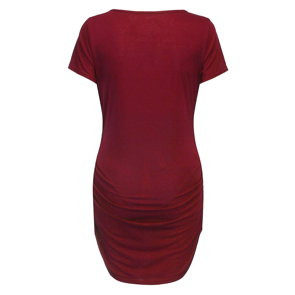 Toponly Women's Short Sleeve Solid Print Summer Maternity Nursing Tops Breastfeeding T-Shirt Wine by Toponly women T-shirt (Image #2)
