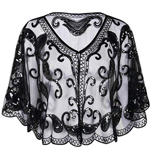 PrettyGuide Women's Evening Cape 1920s Paisley Cocktail Flapper Beaded Shawl Black