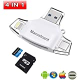 Micro SD TF Card Readers, Marceloant Card Reader 4in1 USB Flash Dirver for iPhone iPad Android Apple Mac, Card Reader Memory Card Camera Reader Adapter, Lightning Micro (White)