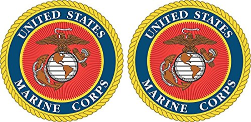 States Marine Corps United Seal (MAGNET United States Marine Corps Seal 2 Pack of 3.8 Magnetic Sticker Decals)