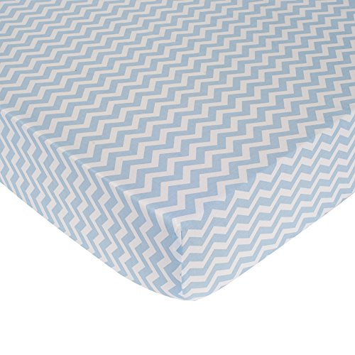 Kidsline Sheet (Carter's Zig Zag Crib Fitted Sheet, Blue (Discontinued by Manufacturer))