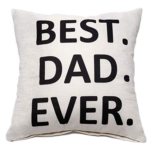 Aeora Linen Throw Pillow Case - Best Dad Ever Father's Day Pillowcase Gift Home Decor Gift Present Housewarming Gift Cushion Cover