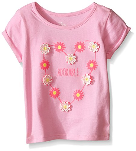Toddler Girls Cuff Sleeve Printed Top, Sparkle Pink, 4T