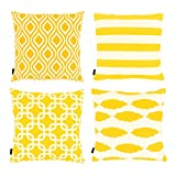 Willow & Smith Set of 4 Pillow Covers for Throw Pillows Square Yellow Geometric Patterns Cushion Covers for Sofa Home Bedding Decor