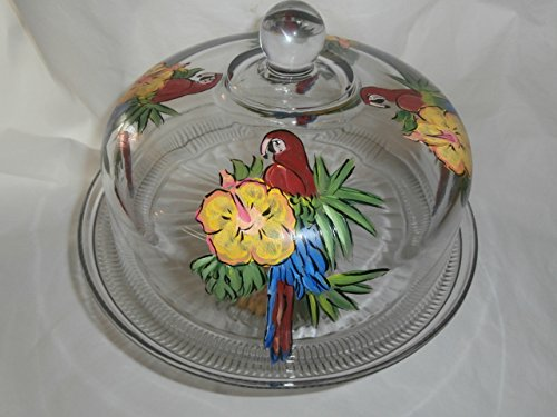 - Hand painted cake plate/ punch bowl. Painted in red parrot and yellow hibiscus.
