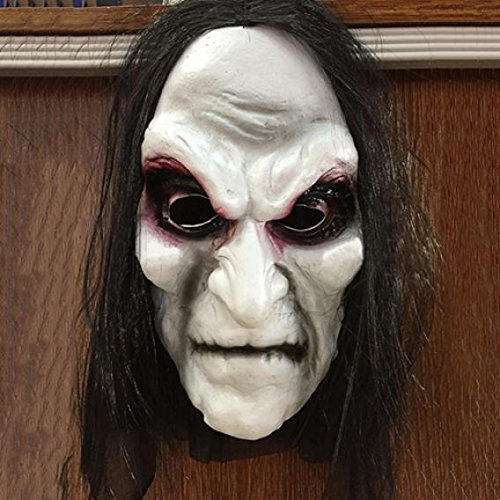 Scary Black Long Hair Blooding Ghost Mask Scary Zombie Face Halloween Costume Party Mask for Masquerade Birthday Parties Carnival Decorations Cosplay Prop
