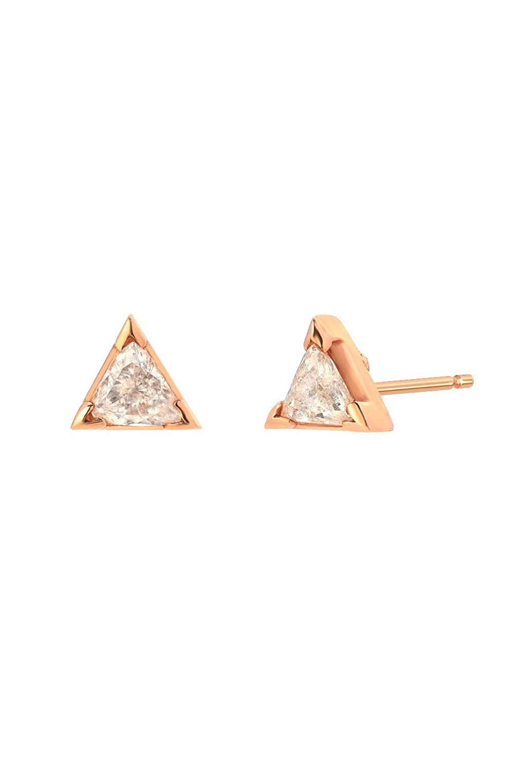 937287e24 Amazon.com: Diamond trillion stud earrings, Zoe Lev Jewelry: Handmade