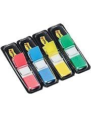 Post-it plakstrip Index Mini 683-4 - gekleurde plaknotities in - 4 plakstripblokken van 35 vel in 4 kleuren in een praktische dispenser, Rood/Blauw/Geel/Groen, 11,9 x 43,2 mm