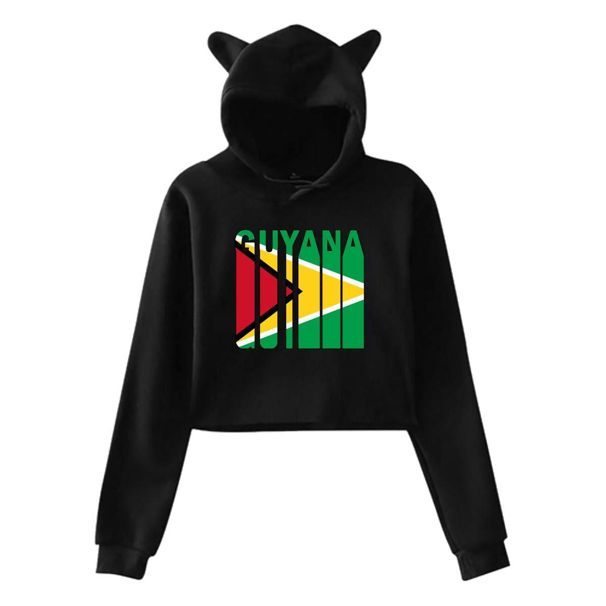 Guyana Flag Word Womens Exposed Navel Cat Ear Hoodie Pullover Hooded