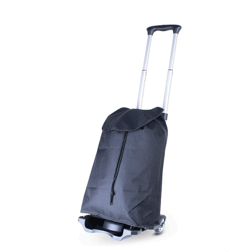 Foldable Trolley, Lightweight Aluminum Trolley Luggage Cart, Can Be Put Into The Backpack Storage, Maximum Bearing Capacity: 35KG (Color : Trolley+bag)