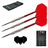 Red Dragon Hell Fire D: 26g - 80% Tungsten Steel Darts with Flights, Shafts, Wallet & Red Dragon Checkout Card