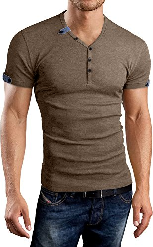 Aiyino Mens Summer Casual V-Neck Button Cuffs Cardigan Short Sleeve T-Shirts S - Big Clothing Mens And Neck V Tall