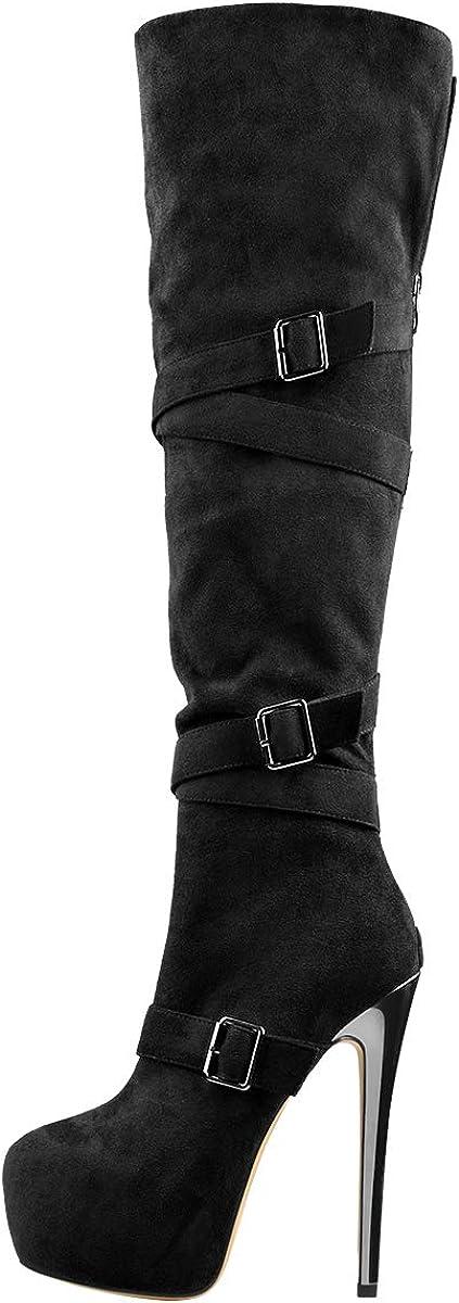 Only maker Damen Overknees Plateau Stiletto High Heels Stiefel mit Zier-Riemen und Schnalle