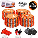 Promondi 8 Pack LED Road Flares Set - Roadside Emergency Safety Light - Rescue Beacon Lights for Car Boat Marine Vehicles - Discs & Batteries & Gloves & Hammer & Bag