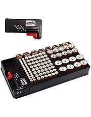 Batterij organizer, batterijen opbergkoffer bevat 110 batterijen van verschillende groottesleuf voor AAA, AA, 9V, C, D en knoopbatterij met verwijderbare batterijtester van Makerfire