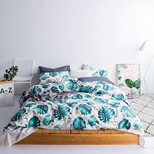 Printed Duvet - SUSYBAO 3 Pieces Duvet Cover Set 100% Natural Cotton Queen Size Green Botanical Plants Printed Bedding with Zipper Ties 1 Duvet Cover 2 Pillowcases Hotel Quality Soft Comfortable Luxurious Easy Care