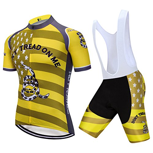 Ride Jersey Shorts - Hot Rides Men's Quick Dry Cycling Jersey And 3D Gel Padded Bib Shorts Don't Tread On Me Medium