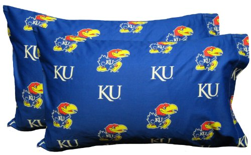 College Covers Kansas Jayhawks Pillowcase Pair - Solid (Includes 2 Standard Pillowcases) - Kansas Pillow