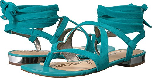 Sam Edelman Women's Davina Gulf Blue Kid Suede Leather Sandal - Kid Suede Womens Sandals