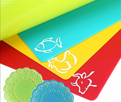 Extra Thick - Extra LARGE + BONUS - Flexible Plastic Cutting Board Mats for kitchen - set of 4 - waffle back - Color coded with food icons + BONUS of 2 silicone lace coasters by La Pomelo by BabyBest