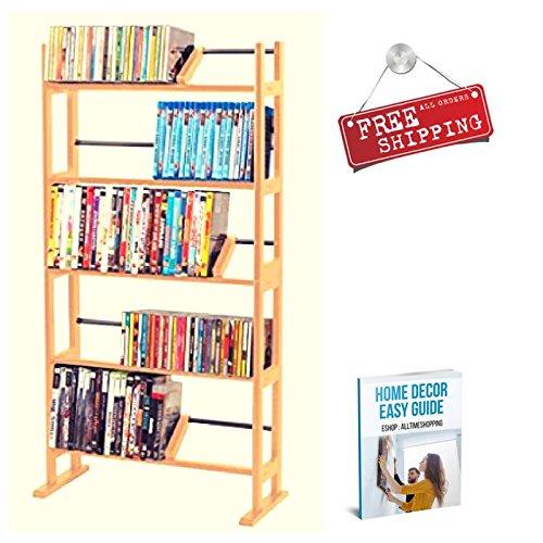 Multimedia Storage Rack Tower Wood DVD CD Racks and Shelving Organizer Tall Home Storage Free Standing & eBook by AllTim3Shopping
