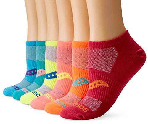 Saucony Womens 6-Pair Performance Super Lite No-Show Socks