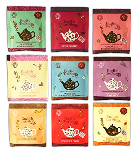 English Tea Shop variety 80 TEA BAGS by The Yummy Palette | English Tea Shop variety English Tea Shop Sampler English Tea Shop white tea blueberry and more packed in Basically British Burlap (Sampler White Tea Tea)
