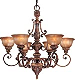 Minka Lavery Chandelier Pendant Lighting 1356-177, Illuminati Glass 1 Tier Dining Room, 6 Light, 600 Watts, Bronze For Sale