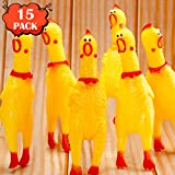 Rubber Chicken Screaming Chicken Squeaky Noise Shrilling Shrieking Squawking Chicken Noisemaker Novelty Gadget for Dogs Pets (6.3 Inch, 15 Packs)