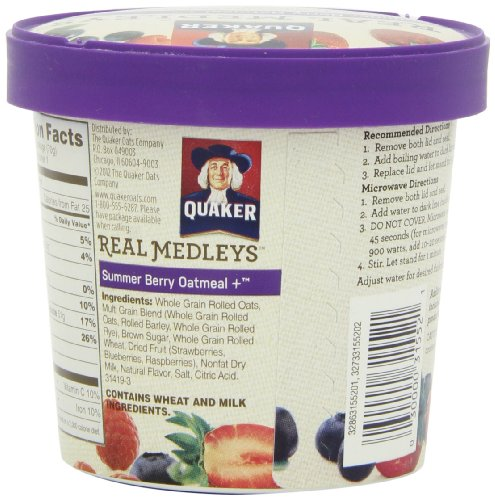 030000315521 - Quaker Real Medleys Oatmeal+, Summer Berry, Instant Oatmeal+ Breakfast Cereal, 2.46 oz Cup (Pack of 12) carousel main 8