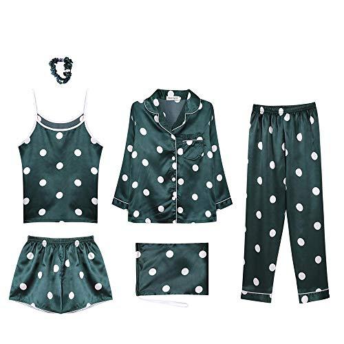 Piezas Saten Elegante Verano 2 Y Camisones Satin Primavera Manga E Siete De Larga Mujer Dormir Conjunto Ropa Otoño Pijamas n5Zq8Xw