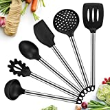 Silicone Kitchen Utensils, 6 Piece Cooking Utensil Non-Stick Stainless Steel Kitchen Tool Cookware Set BPA free, Spatula, Slotted Turner, Pasta Fork, Skimmer, Spoon, Ladle By KEEMO