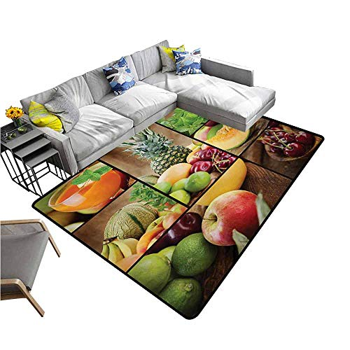 - Slip-Resistant Washable Entrance Doormat Nature,Fruits Salad Themed Watermelon Pineapple Apple Cherries Juice Collage Art Print,Multicolor 80