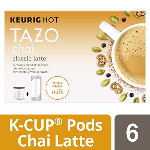 Tazo K-Cup Pods for a delicious treat Chai Latte With natural flavors 6 ct (Classic Chai Latte)