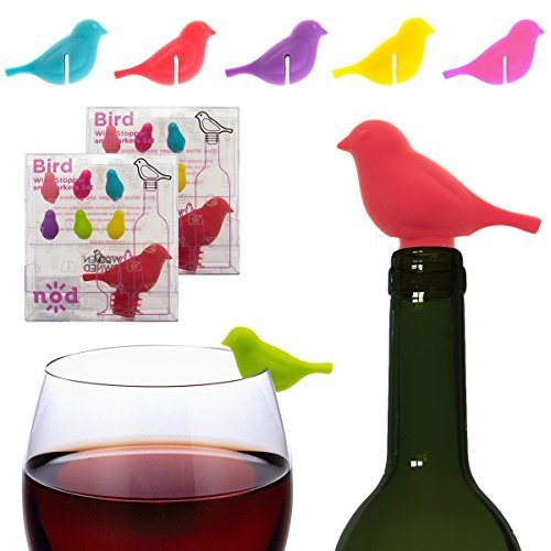 14 Piece Birds Silicone Wine Stoppers & Markers Set Cocktails Wine Glasses Charms Party Supplies Drink Accessories by Nod