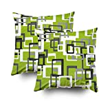 lime green couch Capsceoll 2PCS Bright Green Retro Print Decorative Throw Pillow Case 18X18Inch,Home Decoration Pillowcase Zippered Pillow Covers Cushion Cover with Words for Book Lover Worm Sofa Couch